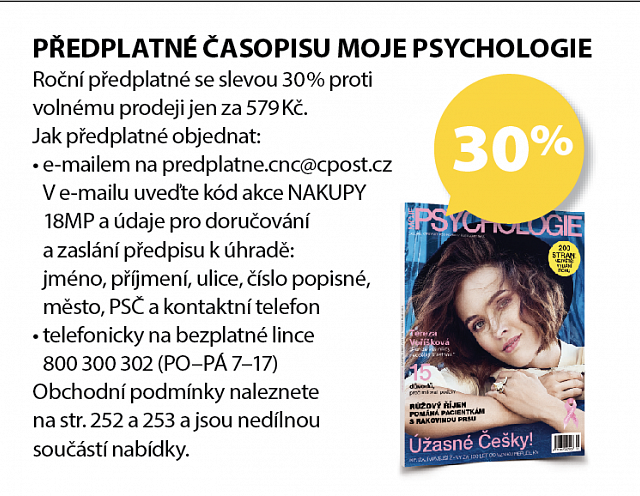 Obrázek kupónu - PŘEDPLATNÉ ČASOPISU MOJE PSYCHOLOGIE
