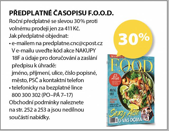 Obrázek kupónu - PŘEDPLATNÉ ČASOPISU F.O.O.D.