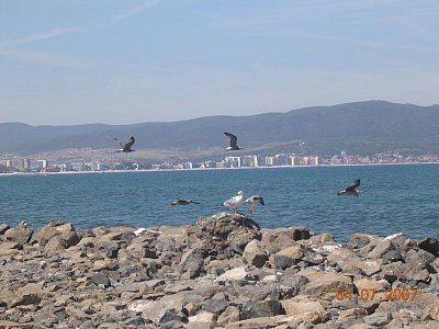 Černé moře - V pozadí Slunečné pobřeží. Pohled od Nessebaru. (nahrál: Mira)