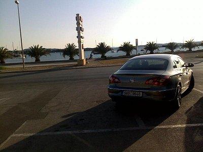 Pohled z restaurace - První cesta naseho auticka u moře:-) (nahrál: Petr Bacak)