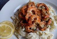 Koprové krevety s těstovinami