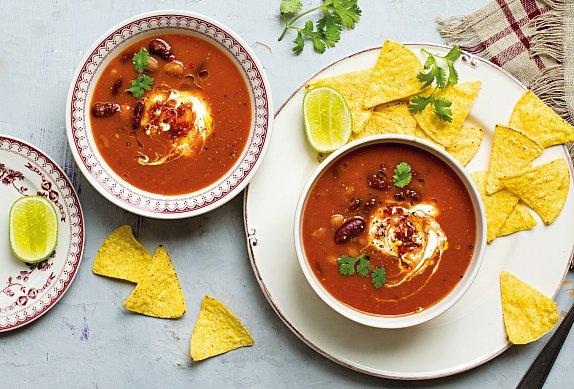 Rychlá mexická fazolová polévka