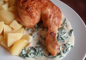Kuře se špenátovou omáčkou