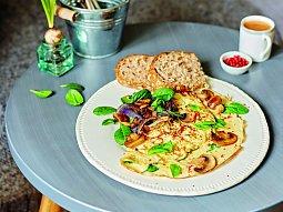 Omeleta se žampiony a špenátem