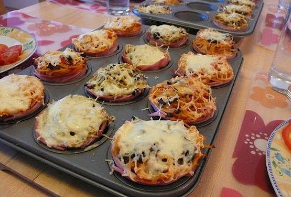 Šunková hnízda se špagetami