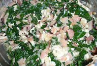 Dušený listový špenát na slanině
