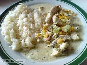 Kuřecí nudličky s kukuřicí a nivou
