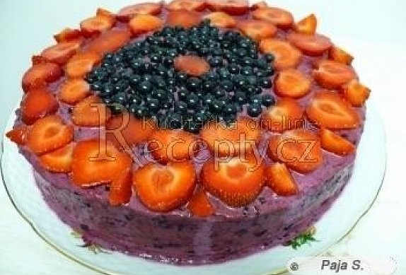Borůvkový tvarohový dort