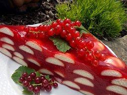 Rybízový nepečený dort