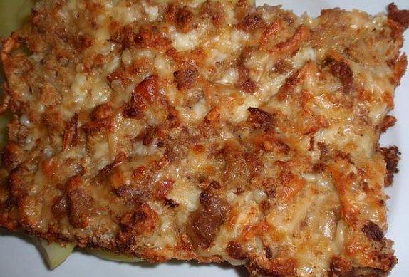 Sýrový nákyp s prejtem, jitrnicí nebo jelitem