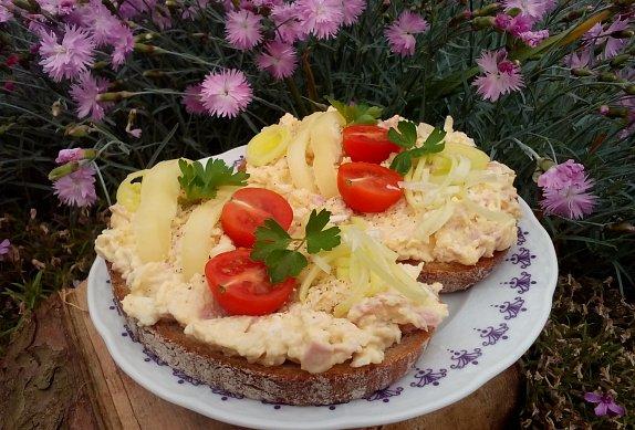 Česnekovo-vaječná pomazánka se šunkou a sýrem photo-0