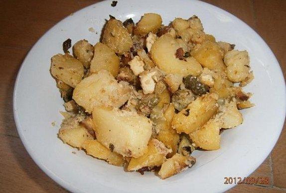 Zapečené brambory s uzeným tofu a zázvorem na koriandru