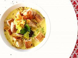 Krémová rybí polévka se šafránem