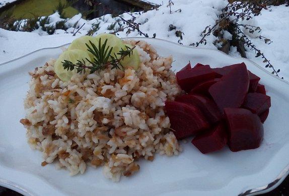 Rýže s pečeným masem