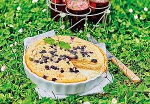 Tvarohový koláč s borůvkami