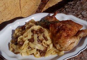 Houbové kuře (nejen) s těstovinami